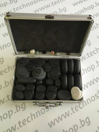 60бр. Вулканични камъни за масаж + куфарче